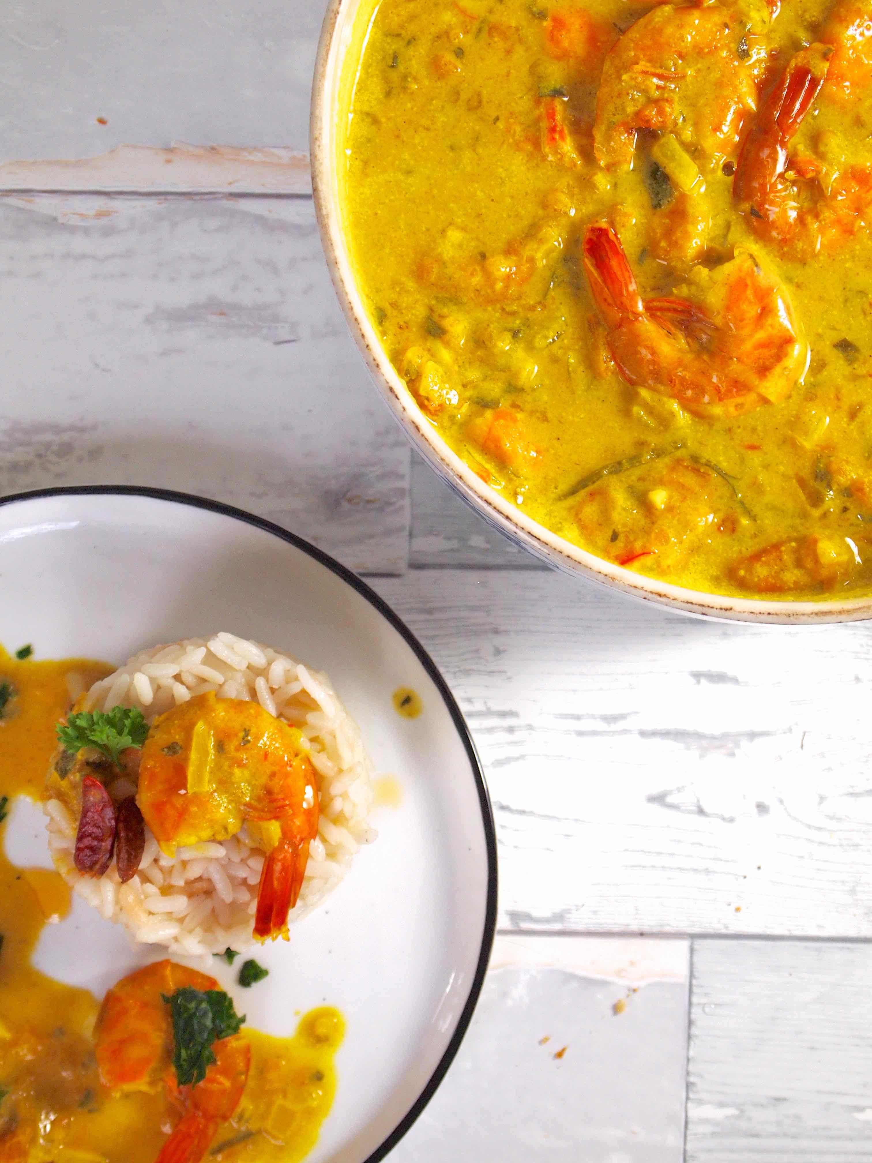 Caril de Camarão - Garnelen Curry