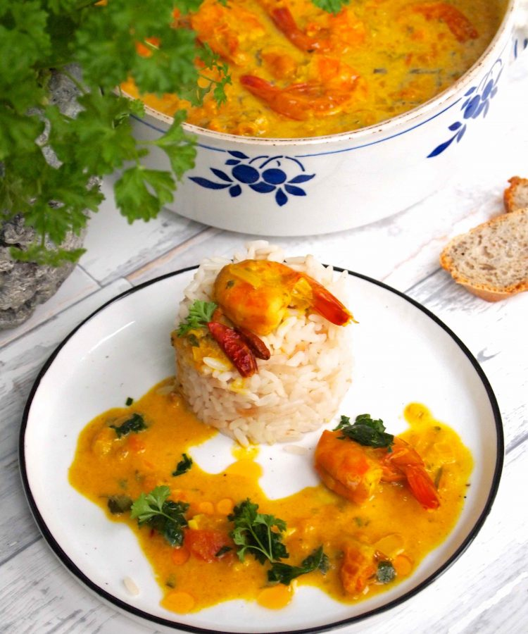Caril de Camarão - Garnelen Curry