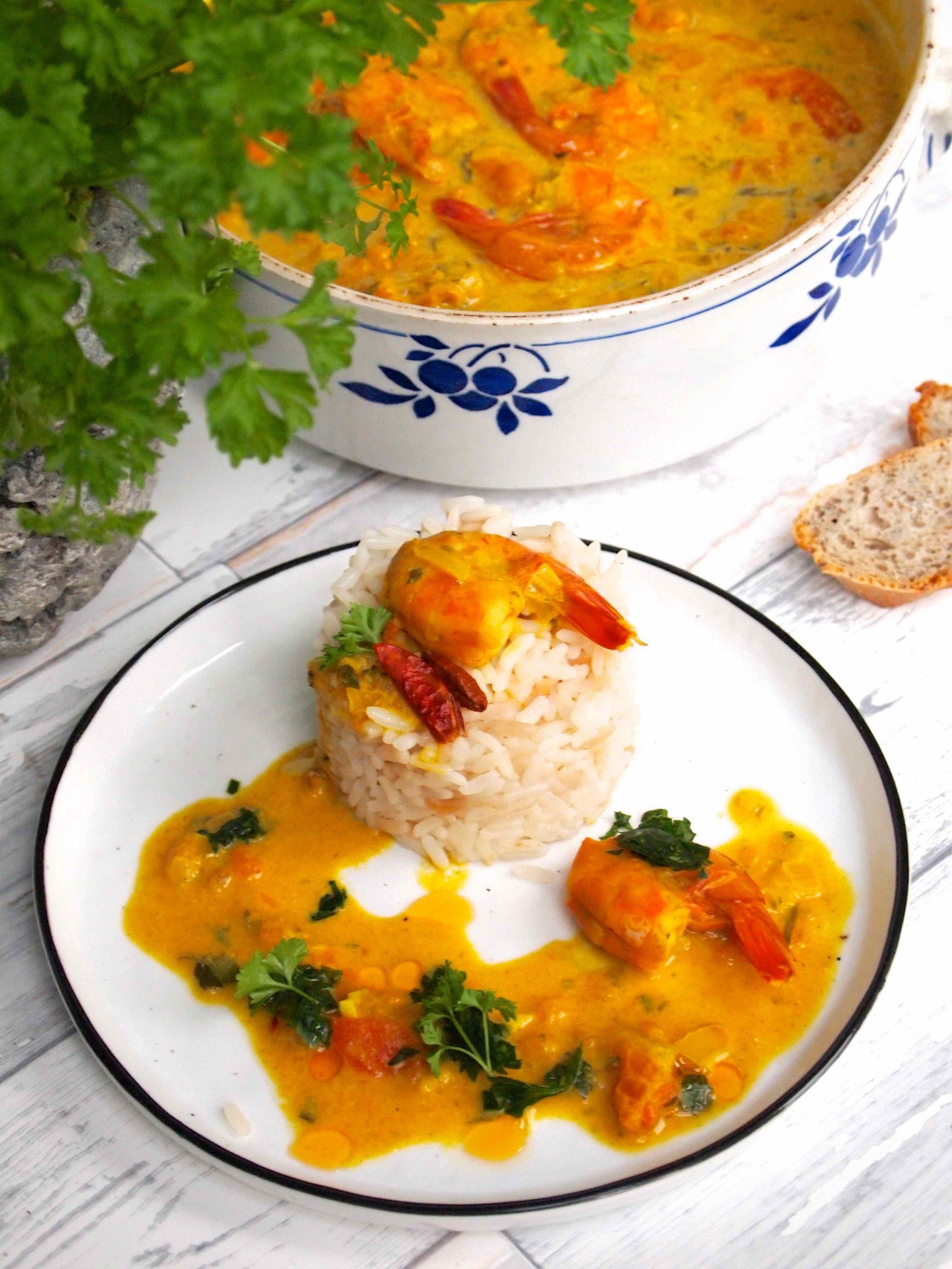 Caril de camarão - Garnelen-Curry