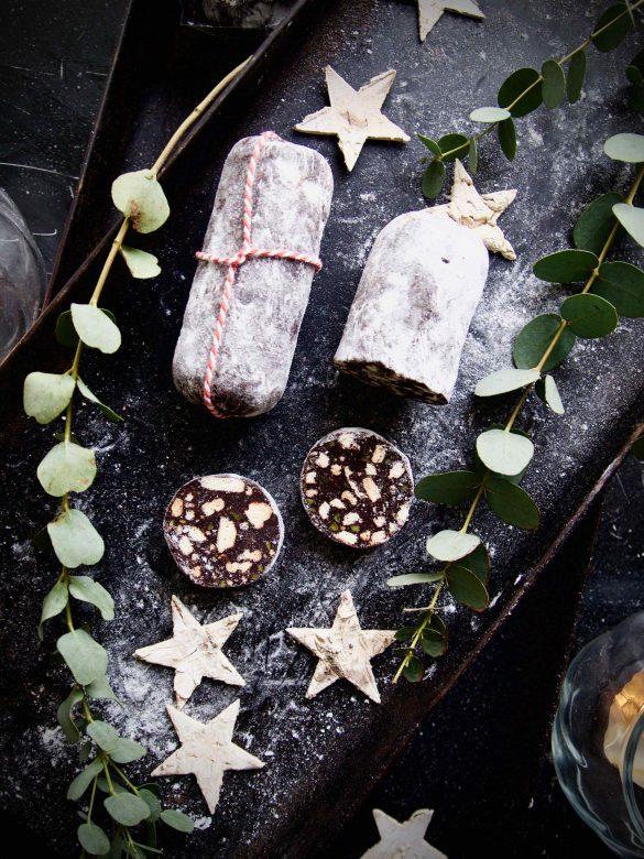 Salame de chocolate - Portugiesische Schokosalami mit Portwein und Pistazie