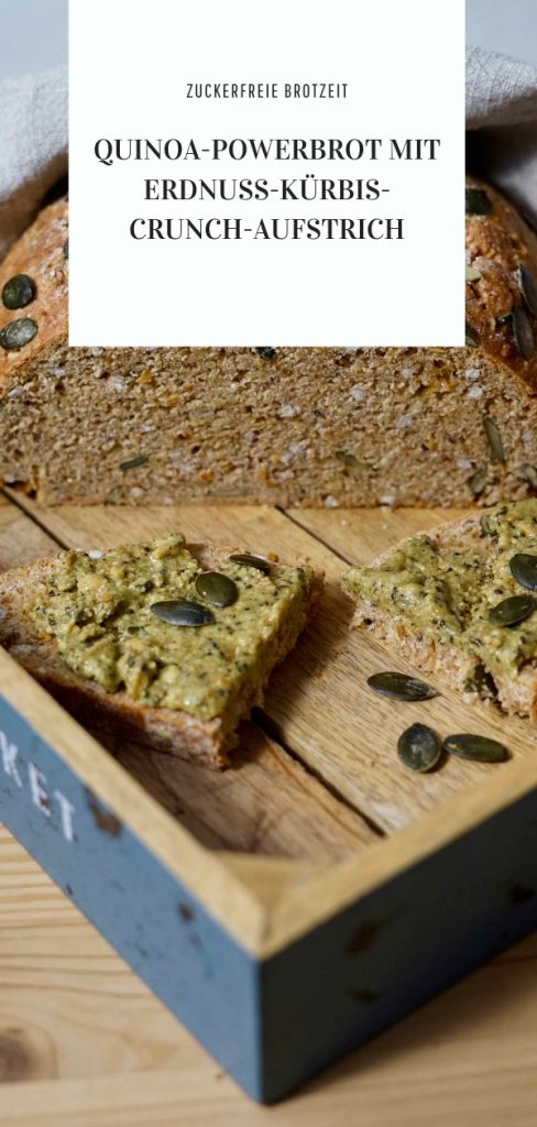 Rezept für Quinoabrot mit Erdnuss-Kürbis-Crunch-Aufstrich