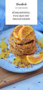 Süßkartoffelpancakes mit Orangensoße