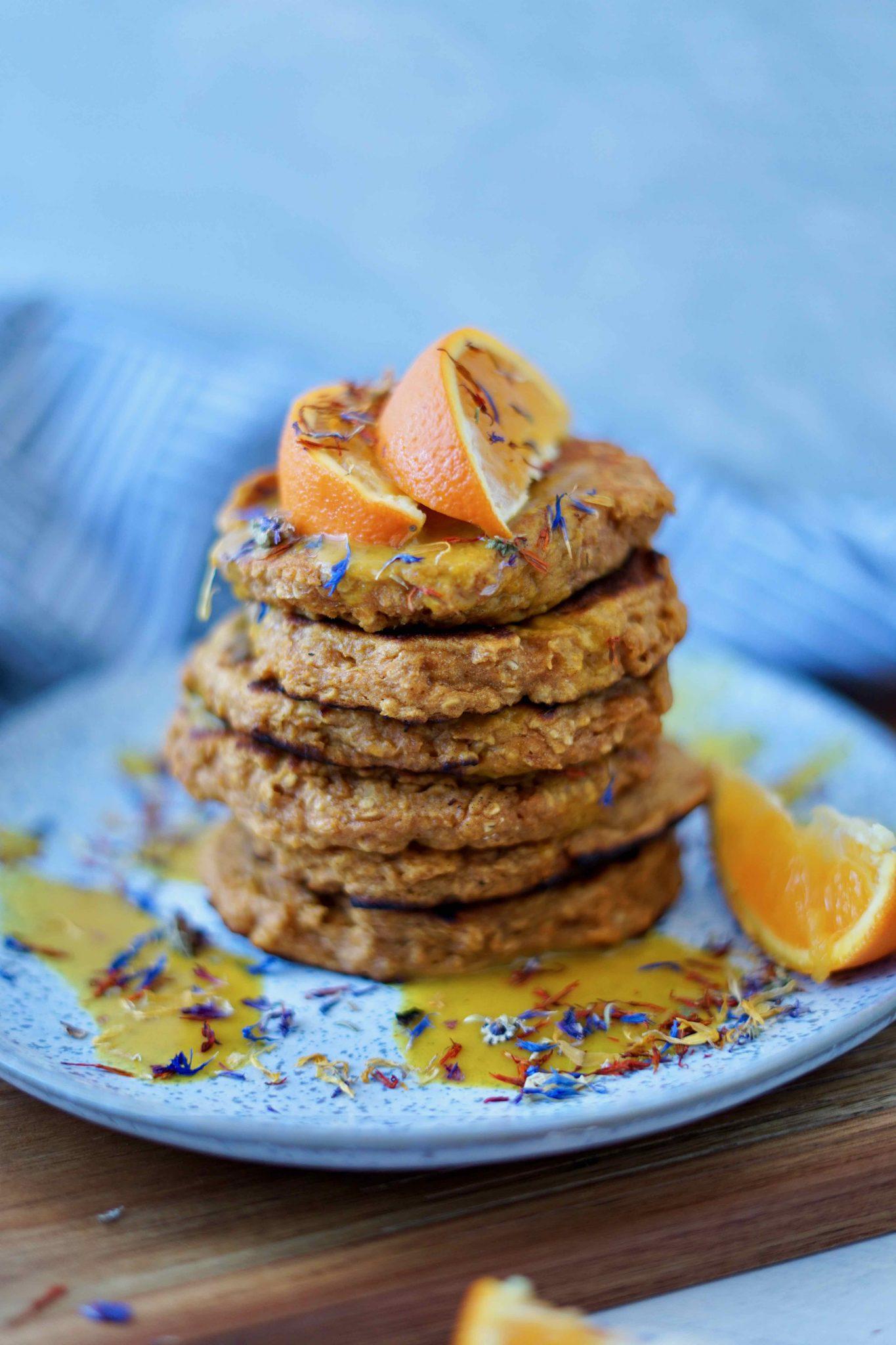 Süßkartoffel-Pancakes mit Orangensoße