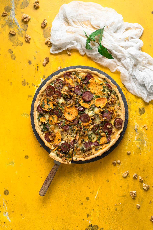 Chorizo-Süßkartoffel-Tarte mit Manchego