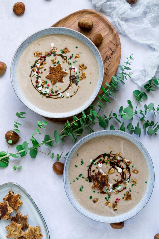 Maronensuppe mit Zimt-Tonka-Croutons
