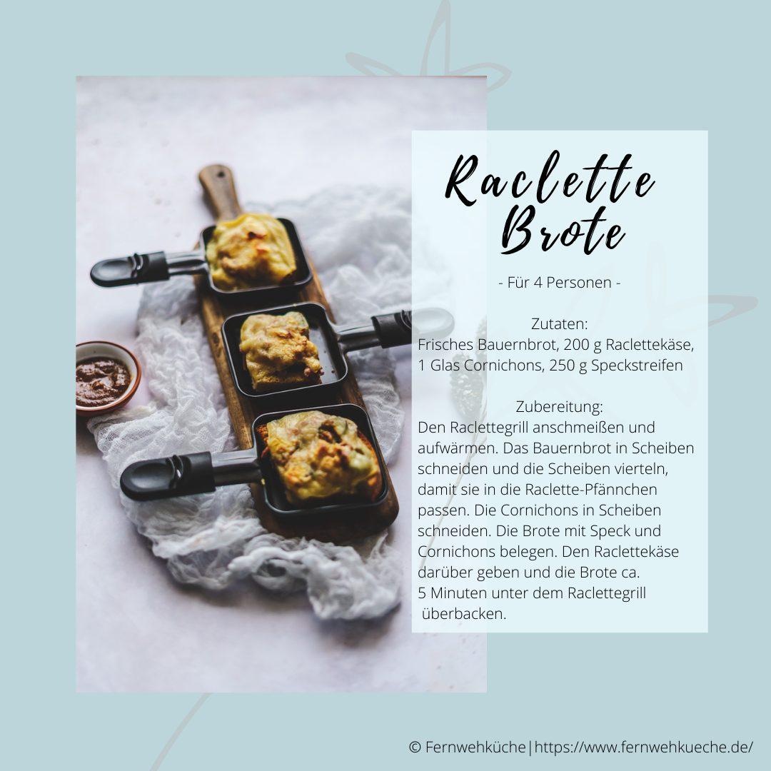 Weihnachtsmarkt für Zuhause -Rezeptkarte Raclette Brote