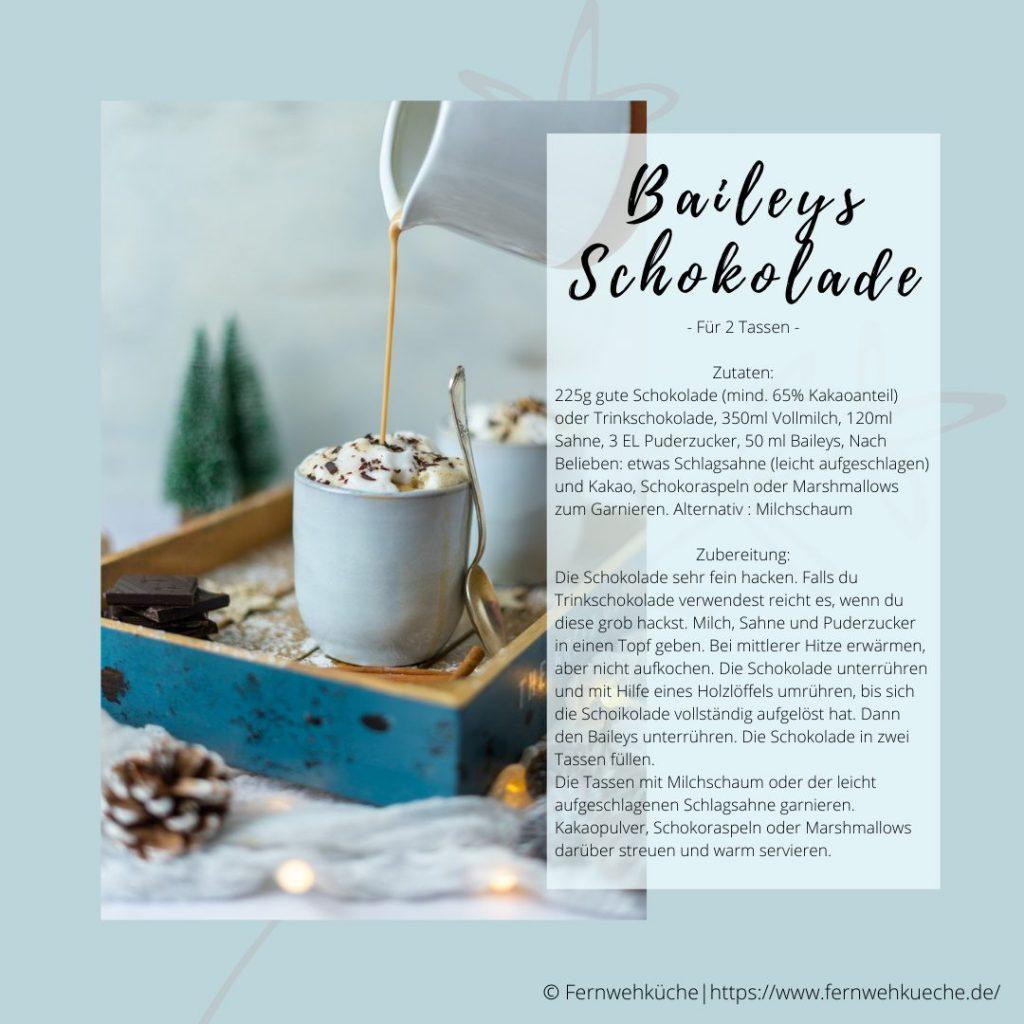 Weihnachtsmarkt für Zuhause - Rezeptkarte Baileys Schokolade