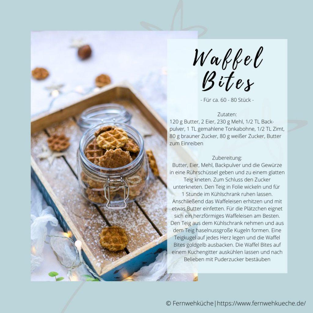Weihnachtsmarkt für Zuhause - Rezeptkarte Waffel Bites