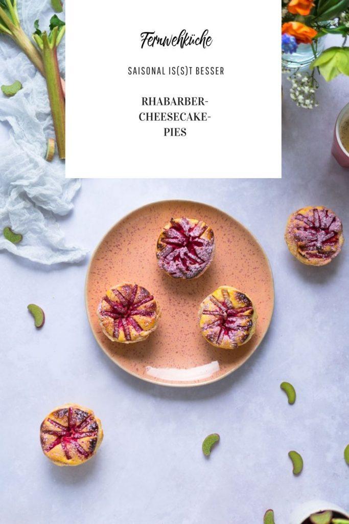 Rhabarber-Cheescake-Blätterteig-Törtchen