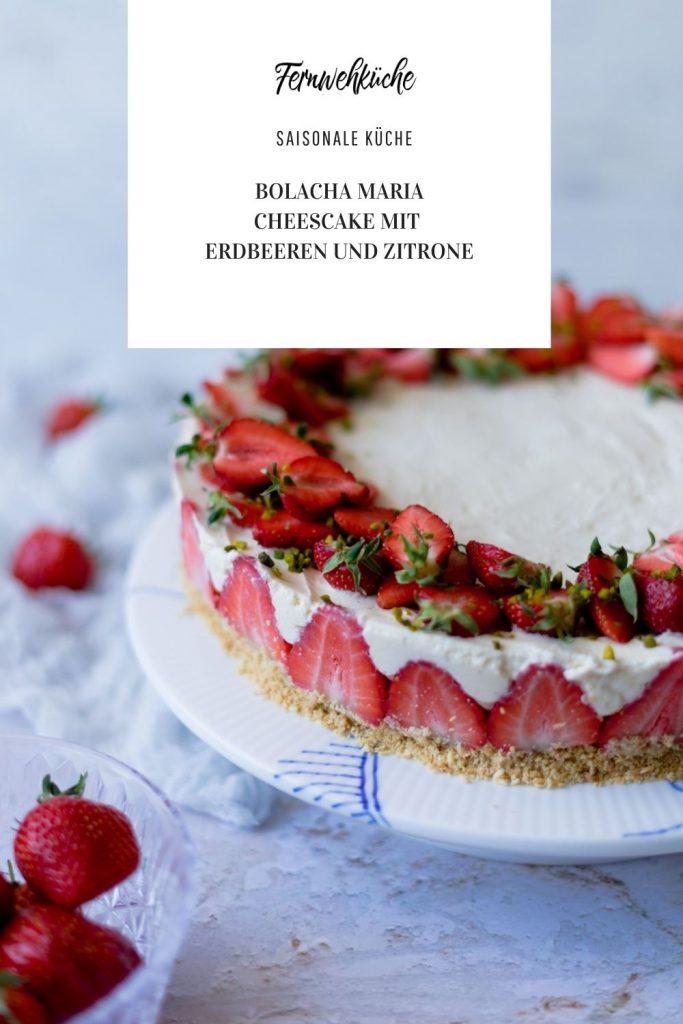 Erdbeer-Cheesecake mit weißer Schokolade, Bolacha Maria und Zitrone